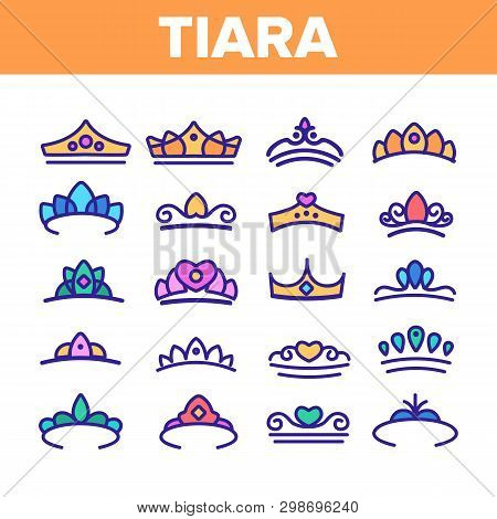 Tiara, Royal Accessory Vector Thin Line Icons Set. Tiara, Diadem Types Linear Illustrations. Queen C