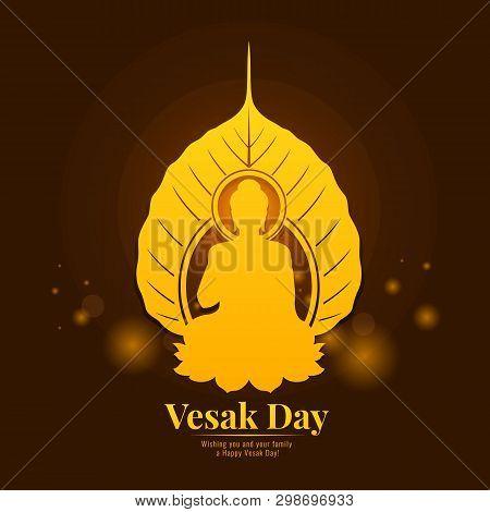 Vesak Day Banner With  Gold Buddha In Bodhi Leaf Sign Vector Design