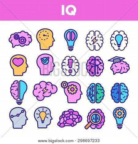 Iq, Intellect Linear Vector Icons Set. Intelligence Coefficient, Iq Thin Line Contour Symbols. Brain