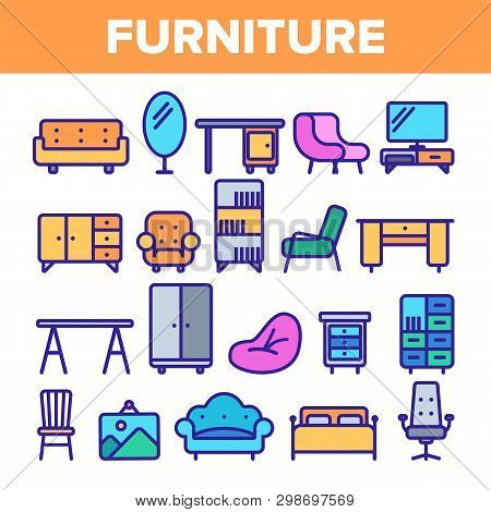 Room Furniture Line Icon Set Vector. Interior Cabinet Design. Home Room Furniture Elements. Thin Out