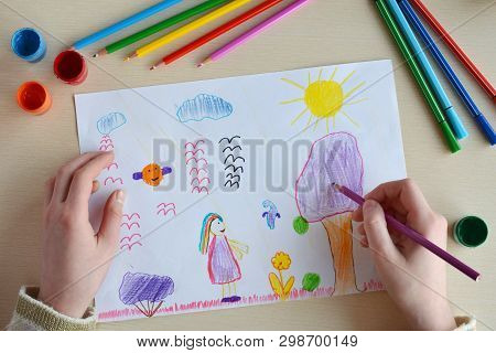 Children's Drawing: Magic World. Fantasy. Unusual Colorful Flowers, Trees, Fairies And Animals.