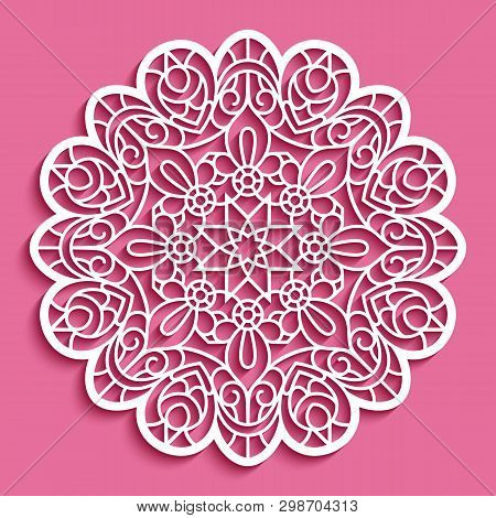 Round Lace Doily, Cutout Paper Pattern, Ornamental Circle Mandala, Template For Laser Cutting