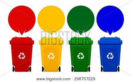 Four Colorful Recycle Bins Isolated On White Background, Bin And Speech Bubbles For Copy Space Templ
