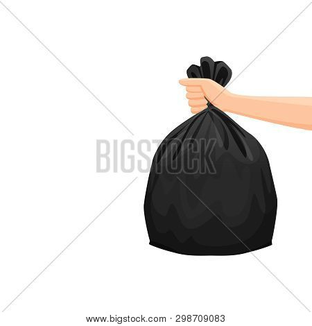 Bags Waste, Garbage Black Plastic Bag In Hand Isolated On White Background, Bin Bag Plastic Black Fo