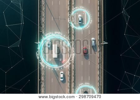 4k Aerial View Of Self Driving Autopilot Cars Driving On A Highway With Technology Tracking Them, Sh