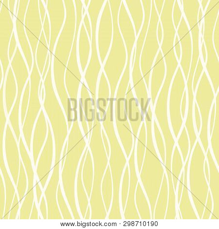 White Hand Drawn Abstract Vertical Wavy Doodle Lines. Seamless Vector Mesh Pattern On Yellow Backgro