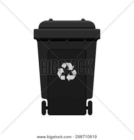Bin, Recycle Plastic Black Wheelie Bin For Waste Isolated On White Background, Black Bin With Recycl