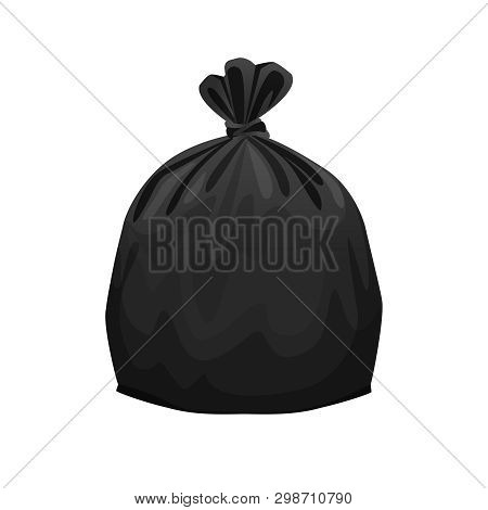 Bag Plastic Waste Black Isolated On White Background, Black Plastic Bags For Waste Separation, Plast