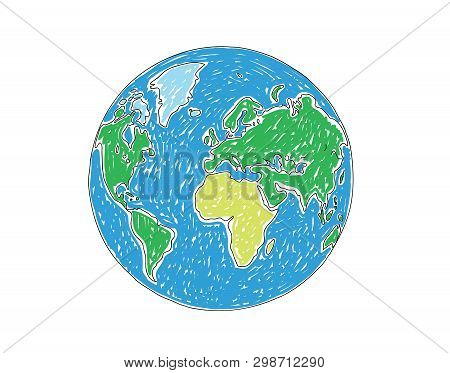Earth Globe On White Background Vector Illustration
