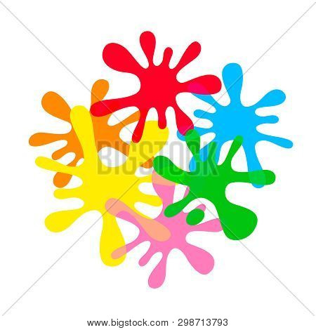 Colorful Ink Blot Splash Isolated On White Background, Droplet Water Splash Colorful, Multi Color Dr
