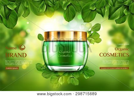 Organic Cosmetics Product Jar Mockup On Green Blurred Background Framed With Tree Leaves. Advertisin