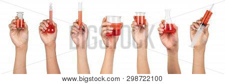 Laboratory Glassware With Red Water Liquid Holding In Boy Hand Isolated On White Background. Experim