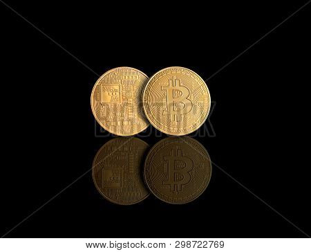 Golden Bitcoin Money Crypto Currency On Gold Background With Reflections