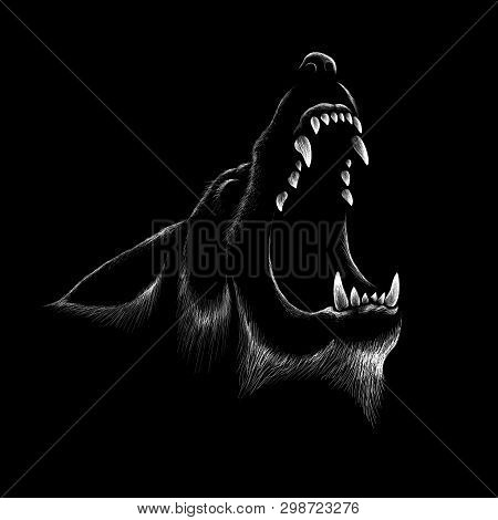 The Logo Dog  Or Wolf For Tattoo Or T-shirt Design Or Outwear.  Cute Print Style Dog  Or Wolf  Backg