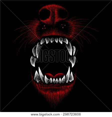 The Vector Logo Dog  Or Wolf For Tattoo Or T-shirt Design Or Outwear.  Cute Print Style Dog  Or Wolf