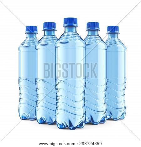 Group Of Five Plastic Bottles Of Still Water With Blue Cap Isolated On White Background. Front View