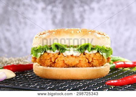 Spicy Chicken Leg Burger On The Wire