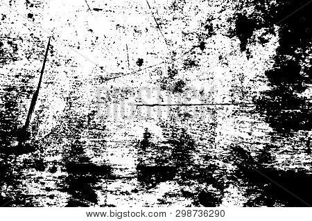 Black And White Scratched Board Texture. Wooden Surface Traced Vector Background. Rough Natural Text
