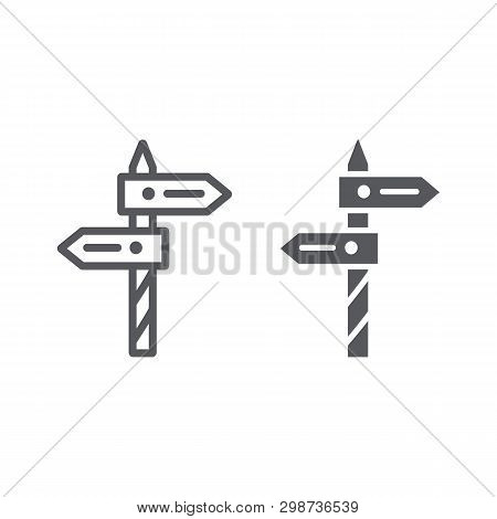 Direction Line And Glyph Icon, Way And Guidepost, Signpost Sign, Vector Graphics, A Linear Pattern O
