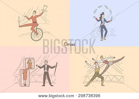 Circus Performers In Arena, Illusionist Showing Magical Tricks, Juggler Riding Unicycle, Acrobats Ex