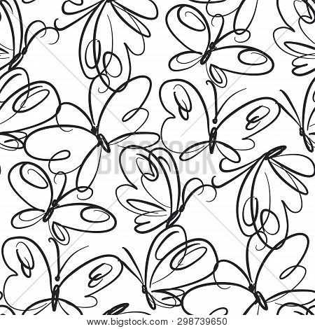 Butterflies Hand Drawn Seamless Pattern. Black Outline Exotic Bugs On White Background. Retro Flying