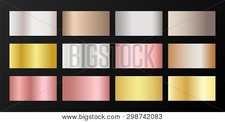 Metallic Gradients Vector Set: Golden, Silver, Platinum, Bronze, Rose Gold. Smooth Chrome, Alloy, Al