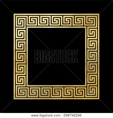 Greek Pattern Square Frame, Golden, Meander Pattern. Meandros, A Decorative Border, Constructed From