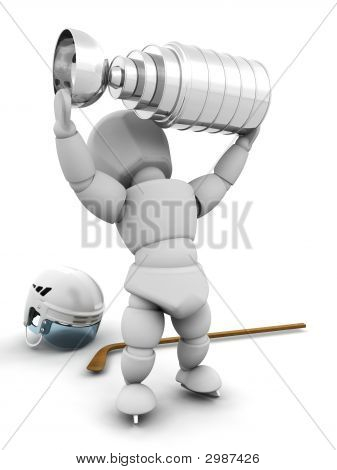 Ice Hockey Player With Trophy