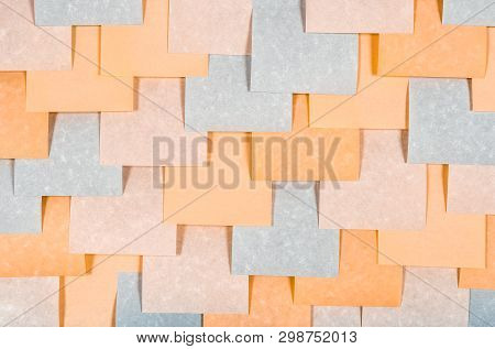 Gray And Peach Colored Blank Sticky Notes. Blank Paper Texture.