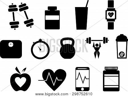 Fitness Vector Icons That Promote Health  And An Active Lifestyle - Thirteen In Total With Subjects