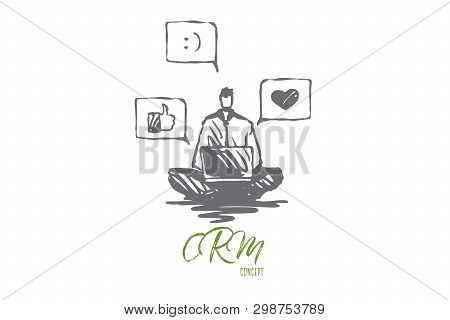 Opinion, Social Networks, Rate, Communication Concept. Hand Drawn Man With Laptop Notice Feedback In