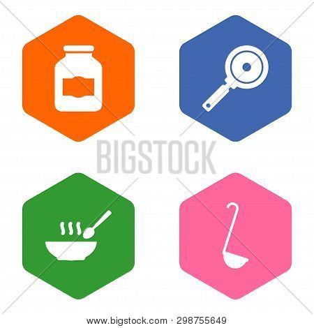 Set Of 4 Kitchen Icons Set. Collection Of Skillet, Jug, Soup And Other Elements.
