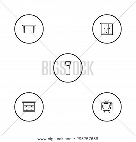 Set Of 5 Situation Icons Line Style Set. Collection Of Illuminator, Dining Desk, Commode And Other E