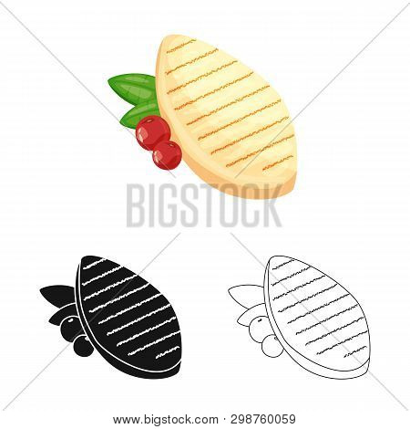 Isolated Object Of Filet  And Chicken Sign. Collection Of Filet  And Hot Stock Symbol For Web.