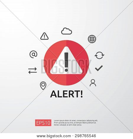 attention warning attacker alert sign with exclamation mark. beware alertness of internet danger symbol. shield line icon for VPN. Technology cyber security protection concept. vector illustration. poster