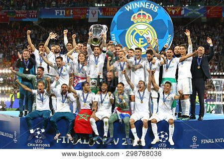 Kyiv, Ukraine - May 26, 2018: Real Madrid Players Celebrate Their Winning Of The Uefa Champions Leag