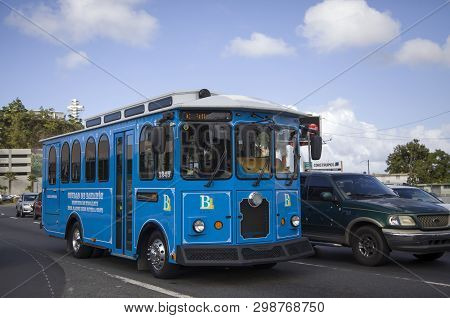 Bayamon/puerto Rico - February 26, 2019: Trolley Car Operating Through Center Of Town.
