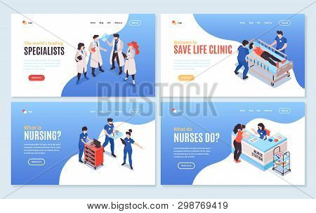 Set Of Four Isolated Isometric Hospital Horizontal Banners With Clickable Links Editable Text And Ap