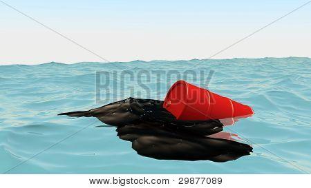 Oil Barrel At Blue Ocean