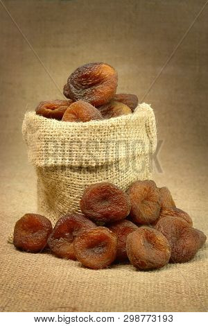 Single Stack Of Sundried Apricots In Gunny Bag