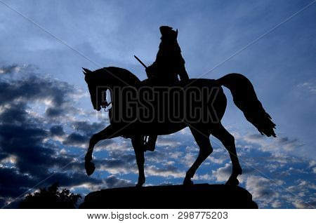 Silhouette Picture At The Blue Hour Of The Equestrian Statue Of George Washington Designed By Thomas