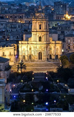 san giorgio church in modica, sicily, italy