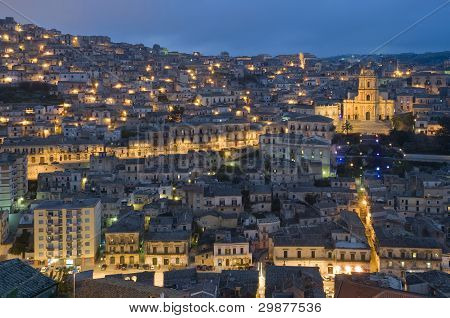 wiew of baroque town modica, sicily, italy