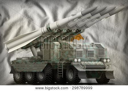 Tactical Short Range Ballistic Missile With Arctic Camouflage On The Cyprus Flag Background. 3d Illu