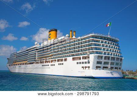 NASSAU - February 12: Costa Deliziosa visiting Nassau on the cruise in Caribbean sea on February 12, 2019 in Nassau, Bahama islands. Nassau is major cruise destination in Caribbean cruises.
