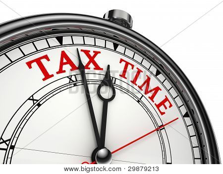 Tax Time Concept Clock Closeup