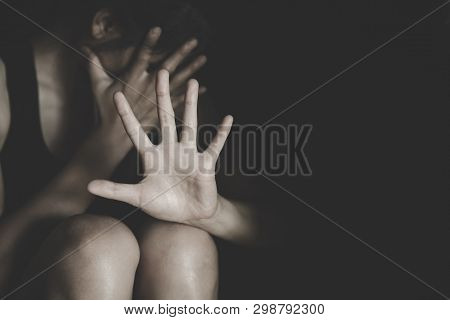 Woman Making No Or Stop Gesture With Hand, Stop Drugs, Stop Violence Against Children, Stop Violence