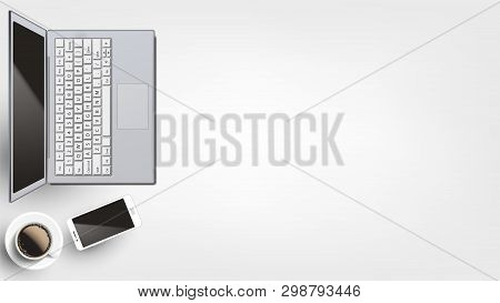 Contemporary Devices On Workplace Flat Lay Vector. Opened Modern Laptop And Neoteric Smartphone Near