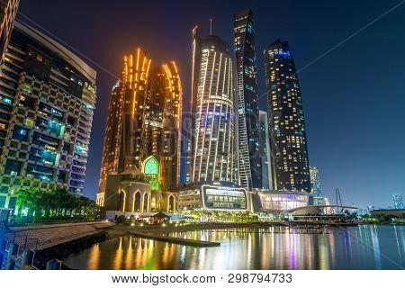 Abu Dhabi, Uae - March 29. 2019. Complex Of Skyscrapers - The Etihad Towers And Bab Al Qasr Hotel Wi