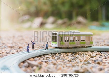 Miniature People : Railway Staff Are Working At Railway